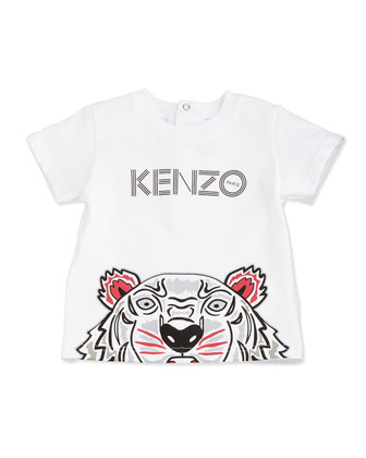 Snap-Back Tiger Jersey Tee, White, Size 3M-2Y