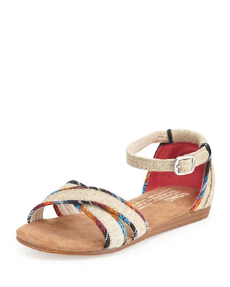 Burlap Correa Sandal, Natural, Youth