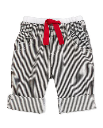 Striped Denim Pants, Black/White, Size 3M-2Y