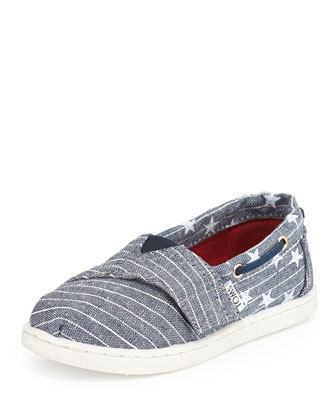 Chambray Stars & Stripes Bimini Shoe, Blue, Tiny