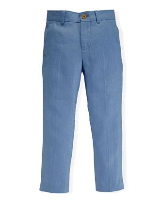 Linen Herringbone Preppy Pants, Austin Blue, Size 2-7