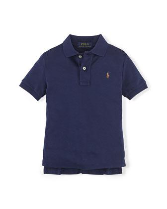 Short-Sleeve Pima Polo Shirt, Cruise Navy, Size 2-7