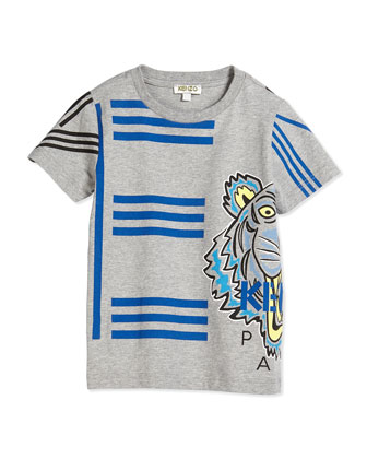 Graphic-Print Jersey Tee, Gray, Size 2-5