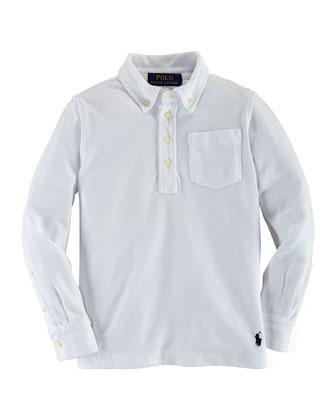 Long-Sleeve Mesh Polo Shirt, White, Size 2-7