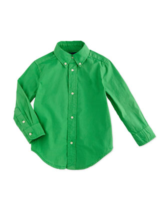 Blake Long-Sleeve Poplin Shirt, Tiller Green, Size 2-7