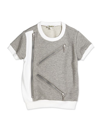 Short-Sleeve Fleece-Lined Tee, Gray/White, Size 2Y-5Y