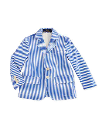 Striped Poplin Jacket, Blue/White, Size 2-7