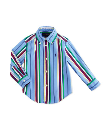 Blake Long-Sleeve Striped Poplin Shirt, Blue/Multicolor, Size 2-7