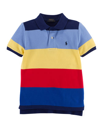 Striped Mesh Polo Shirt, Fall Royal/Multicolor, Size 2-7