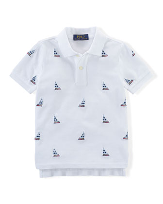 Embroidered Sailboat Mesh Polo Shirt, White, Size 2-7