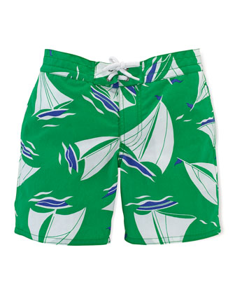 Sanibel Windjammer Swim Trunks, Green, Size 2-7