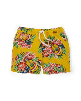 Tropical Ukulele Swim Trunks, Yellow, Size 2-7