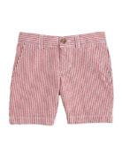 Striped Seersucker Preppy Shorts, Red/White, Size 2-7