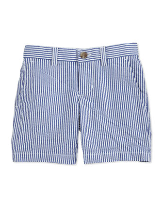 Striped Seersucker Preppy Shorts, Blue/White, Size 2-7