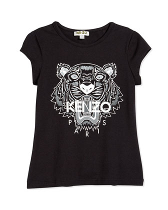 Short-Sleeve Tiger Jersey Tee, Black, Size 2Y-5Y