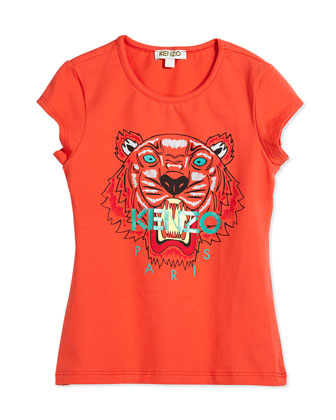 Short-Sleeve Tiger Jersey Tee, Orange, Size 2Y-5Y