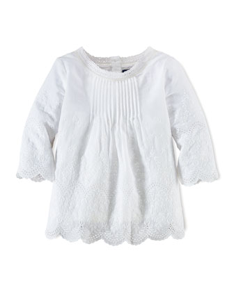 Embroidered Cotton-Batiste Blouse, White, Size 2T-6X