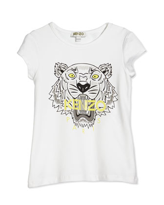 Short-Sleeve Tiger Jersey Tee, White