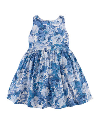 Cotton Sateen Floral Dress, Blue/White, Size 2T-6X