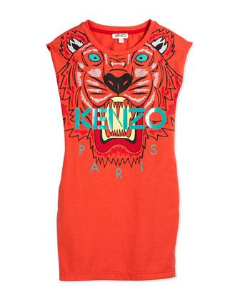 Sleeveless Tiger Stretch-Jersey Dress, Orange, Size 2Y-5Y