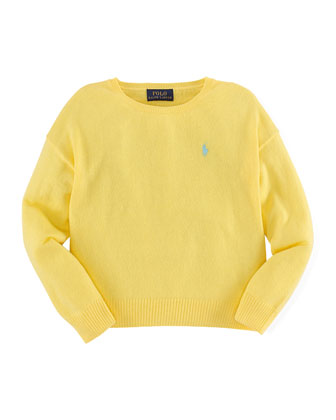 Long-Sleeve Fine-Gauge Sweater, Yellow, Size 2T-6X
