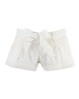 Belted Lace Shorts, Guide Cream, Size 2T-6X