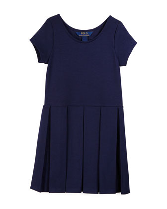 Sleeveless Pleated Ponte Dress, Newport Navy, Size 2T-6X