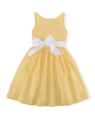 Gingham Seersucker Dress, Yellow/White, Size 2T-6X