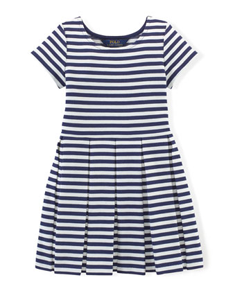 Striped Stretch-Jersey Dress, Navy/White, Size 2T-6X