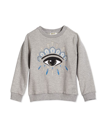 Embroidered Eye Sweatshirt, Gray, Size 6Y-12Y