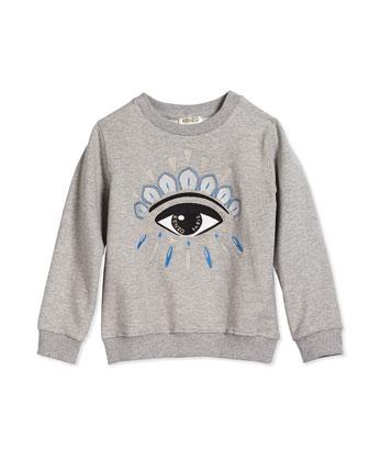 Embroidered Eye Sweatshirt, Gray, Size 2Y-5Y