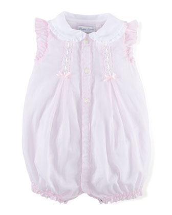 Lace-Trim Organdy Bubble Playsuit, Pink, Size 3-18 Months