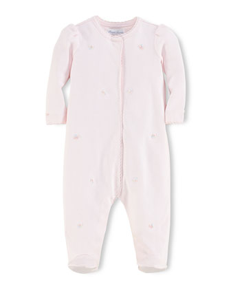 Floral-Embroidered Footie Pajamas, Delicate Pink, Size 3-9 Months