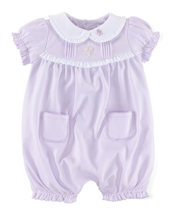 Ruffle-Trim Bubble Shortall, Faded Lilac, Size 3-18 Months