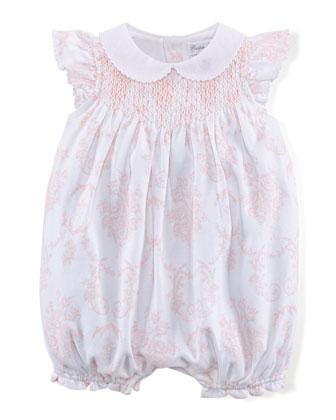 Floral-Print Bubble Shortall, Pink/White, Size 3-18 Months