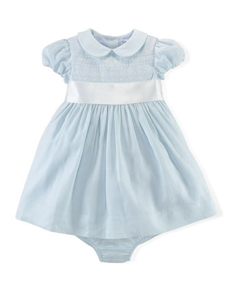 Embroidered Ramie Dress & Bloomers, Blue, Size 3-24 Months