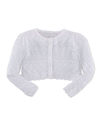 Long-Sleeve Pointelle-Knit Cardigan, Soft Pearl, Size 3-24 Months
