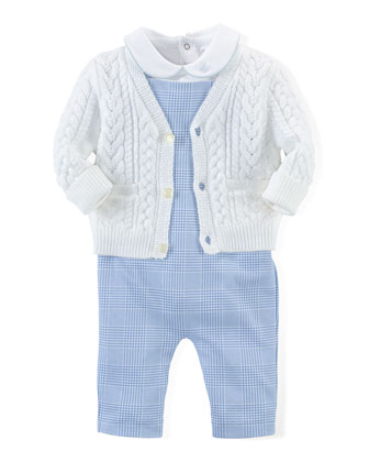 Cotton Sweater, Playsuit & Overalls, Blue/White, Size Newborn-12 Months