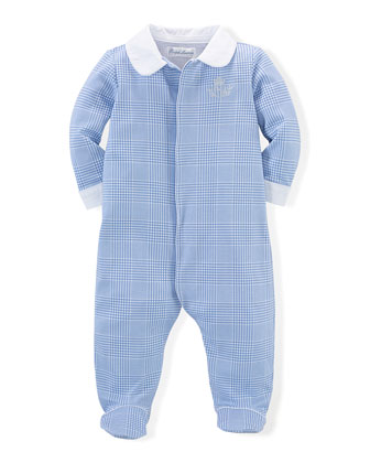Glen Plaid Cotton Coverall, Blue, Size 3-9 Months
