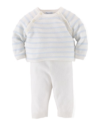 Cashmere Striped Sweater & Pants, Warm White/Blue, Size 3-12 Months