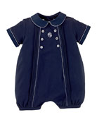 Cotton Pintucked Bubble Shortall, French Navy, Size 3-18 Months