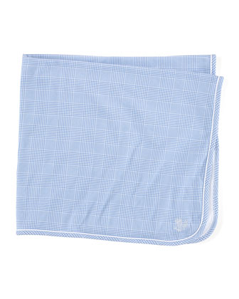 Plaid Cotton Blanket, Blue/White