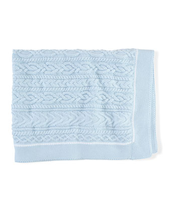 Cable-Knit Cotton Blanket, Beryl Blue