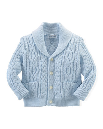 Cable-Knit Cricket Cardigan, Beryl Blue, Size 3-24 Months
