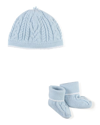 Cotton Baby Hat & Booties, Blue