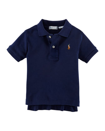Short-Sleeve Mesh-Knit Polo, Cruise Navy, Size 9-24 Months