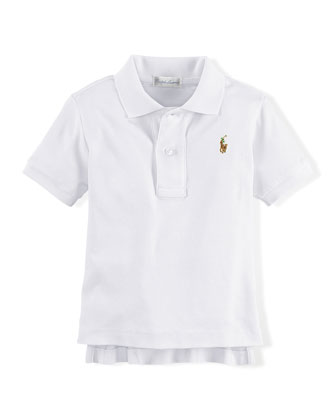 Short-Sleeve Mesh-Knit Polo, White, Size 9-24 Months