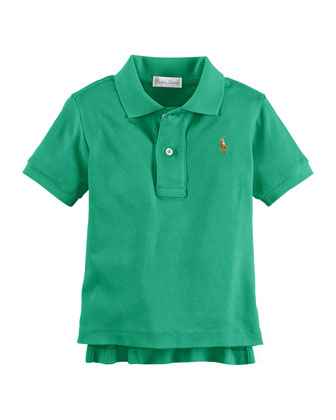 Short-Sleeve Mesh-Knit Polo, Clover Green, Size 9-24 Months
