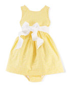 Gingham Cotton Seersucker Dress & Bloomers, White/Multicolor, Size 6-24 Months