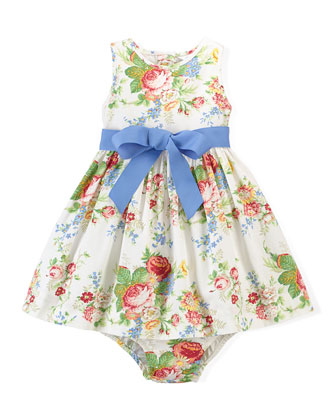 Sleeveless Floral Oxford Dress & Bloomers, White/Multicolor, Size 6-24 Months